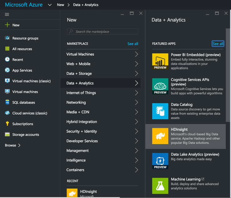 HDInsight Cluster from Azure portal
