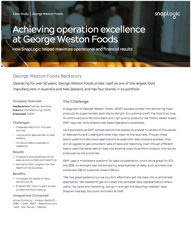 Achieving operational excellence at George Weston Foods