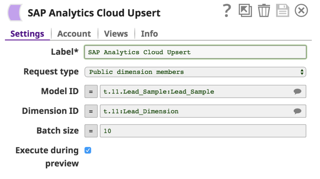 SAP Analytics Cloud Upsert settings