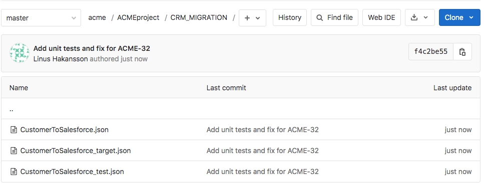 Figure 19: GitLab repository showing the recent Git commit and contents of the repository